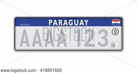 Car Number Plate . Vehicle Registration License Of Paraguay. European Standard Sizes