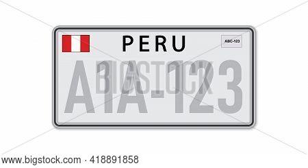 Car Number Plate . Vehicle Registration License Of Peru. American Standard Sizes