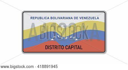 Car Number Plate . Vehicle Registration License Of Venezuela. American Standard Sizes