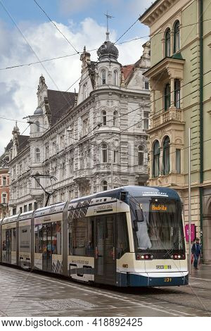 Graz, Austria - May 28 2019: Tramway Of The Line 5 In The City Center Not Far From The Town Hall Of