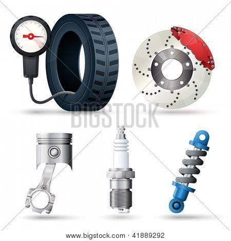 Car spare parts, mechanic and service tools