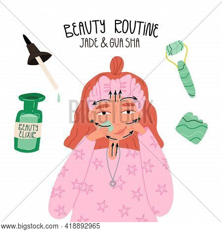 Beauty Routine With Gua Sha Or Jade Scraper And Face Serum Or Elixir. Girl Doing Spa With Various Ma