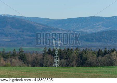 Sudeten Foothills Near The City Of Swieradow Zdroj In Poland. Uneven, Undulating Terrain. Slopes, Pe