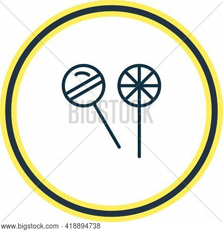 Vector Illustration Of Lollipop Icon Line. Beautiful Snacks Element Also Can Be Used As Confection I