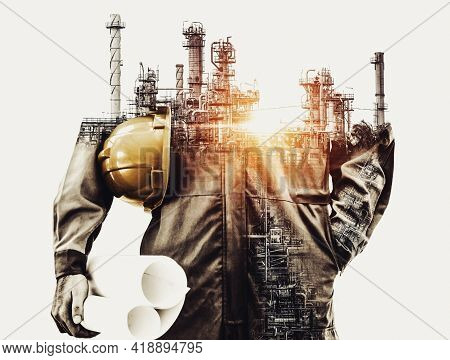 Future concept of industrial and energy industry in creative graphic design. Oil, gas and petrochemical refinery factory with double art exposure showing the next generation of electricity and energy