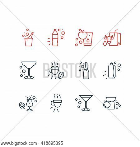 Illustration Of 12 Beverages Icons Line Style. Editable Set Of Beverage, Tomato Juice, Strawberry Co