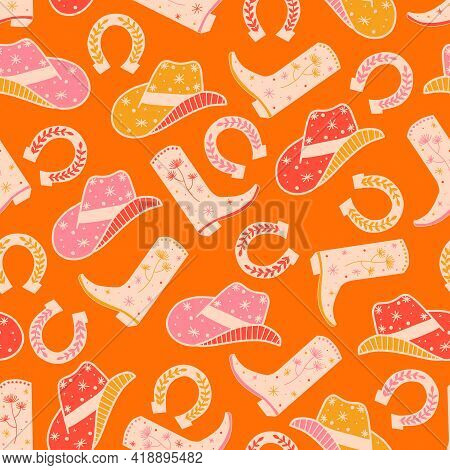 Cowgirl Horse Ranch Seamless Vector Pattern. Cowboy Boots, Hat, Horseshoe Repeating Background. Wild
