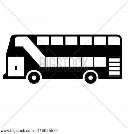 Double Decker Bus Icon On White Background. Bus Sign. Flat Style. Black London Bus Symbol.