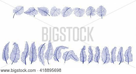 Hand Drawn Tropical Leaves Collection In Linear Style. Decorative Exotics Leaf In Outline Design. Ve