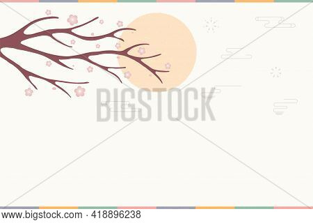 Traditional Asian Background, Plum Tree Branch In Bloom, Sun, Copy Space. Oriental, Eastern Style Ve