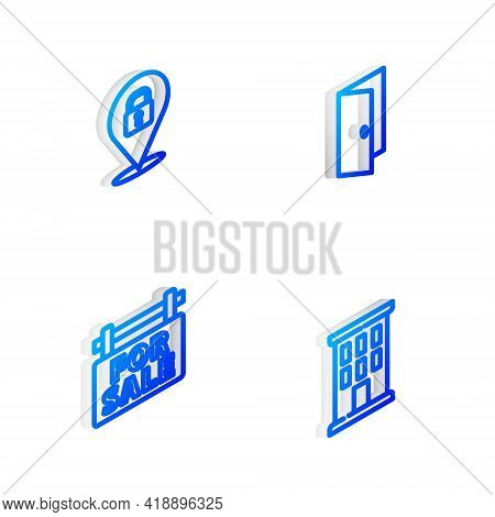 Set Isometric Line Closed Door, Location Lock, Hanging Sign With For Sale And House Icon. Vector