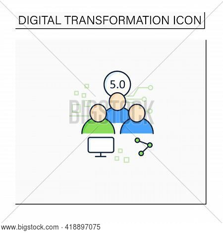 Society 5.0 Color Icon.human-centered Association.super-smart Society. Sustainable, Inclusive System