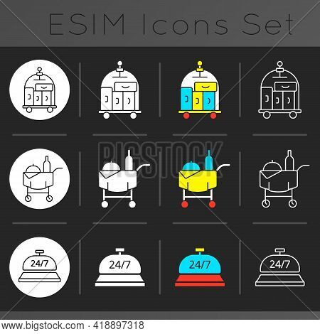 Hotel Services Dark Theme Icons Set. Room Service For Visitors To Choose Food. Cleaning Service To K