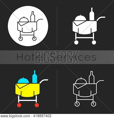 Room Service Dark Theme Icon. Hotel Service Enabling Guests To Choose Items Of Food And Drink For De