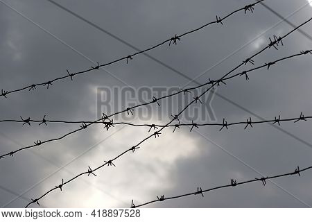 Barbed Wire On The Fence Against A Foggy Sky