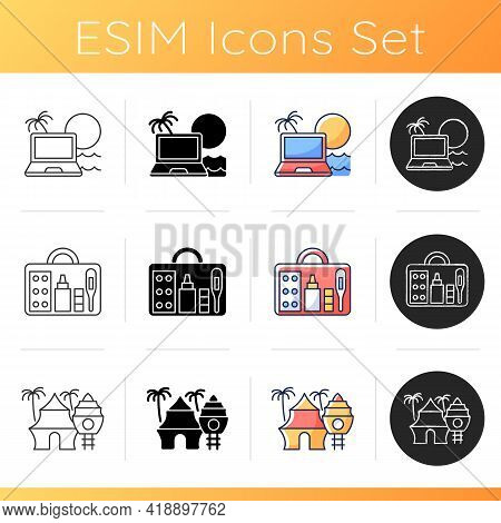 Nomadic Lifestyle Icons Set. Digital Nomad. Tropical Resort. First Aid Kit. Tourists Roadtrip And Jo