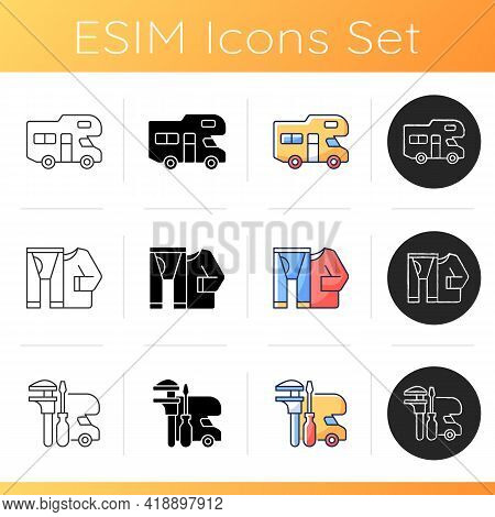 Roadtrip Icons Set. Trailer Lifestyle. Thermal Clothes. Rv Maintenance. Summer Vacation Preparation.