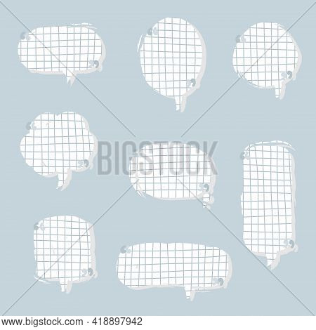 Collection Set Of Blank Hand Drawn Speech Bubble Balloon With Quotation Marks And Shadow, Think Spea