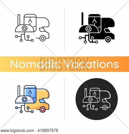 Rv Electronics Icon. Gadgets For Trailer, Devices For Recreational Vehicle. Roadtrip Gear. Camping T