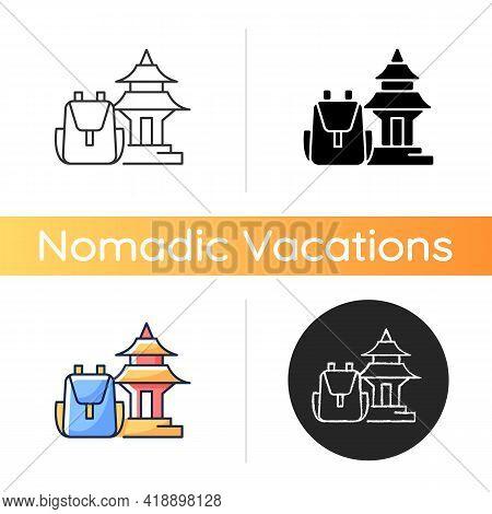 Spiritual Nomad Icon. Trip To Shrine For Spirituality. Visit Holy Place. Asian Landmark. Nomadic Lif