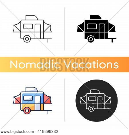 Pop Up Camper Icon. Campground For Tourist To Rest. Recreational Vehicle. Roadtrip Gear. Nomadic Lif