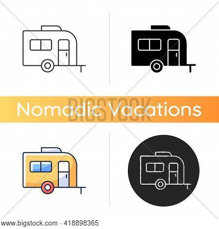 Caravan Icon. Trailer For Nomads Lifestyle. Roadtrip Transportation. Camper Bus. Trailer For Trip Du