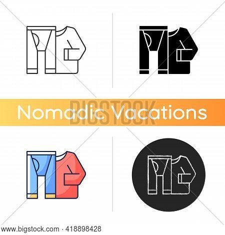 Thermal Underwear Icon. Sportswear And Thermo Clothing. Leggins And Shirt For Tourist. Roadtrip Gear