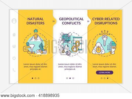 Energetic Security Risks Onboarding Vector Template. Responsive Mobile Website With Icons. Web Page
