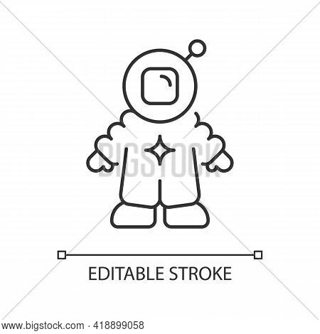 Astronaut Linear Icon. Person Trained By Spaceflight Program. Crew Member On Board Of Spacecraft. Th