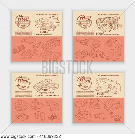 Meat Products In A Frame, Engraved Vector Design. A Set Of Pieces Of Fresh Lamb, Beef, Pork, Chicken