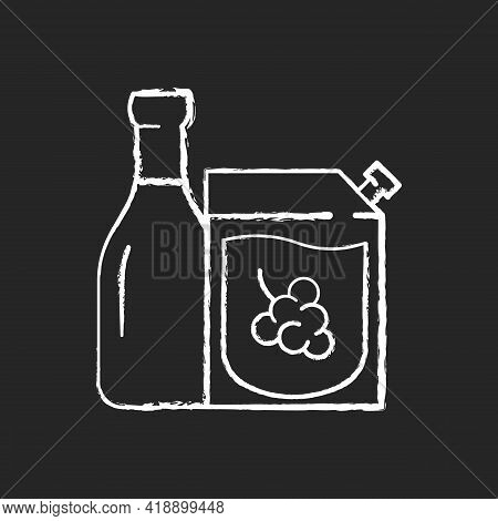 Wine-to-go Chalk White Icon On Black Background. Alcohol Ordering. Red And White Wine. Moderate Drin