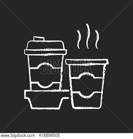 Coffee-to-go Chalk White Icon On Black Background. Consuming Caffeine. Morning Beverage. Cappuccino,