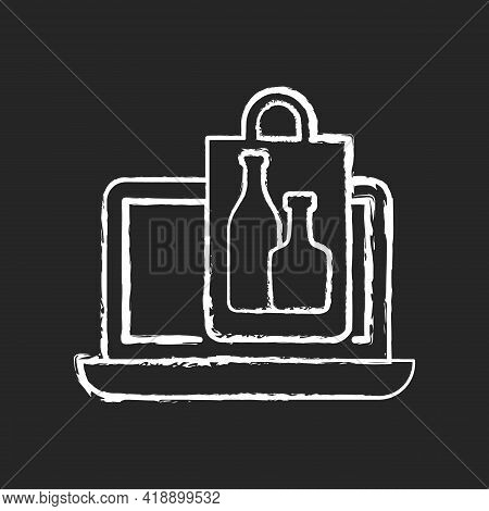 Online Drinks Ordering Chalk White Icon On Black Background. Purchasing Alcohol Online. Alcoholic Be