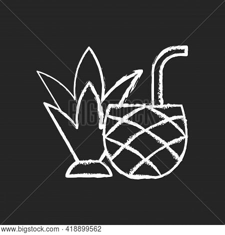 Pina Colada Chalk White Icon On Black Background. Mixed Alcoholic Drink, Cocktail. Tropical Taste. N