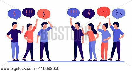 Group People In Conflict Quarrel And Arguing. Disagreement Of People In Discussion, Scream, Abuse An