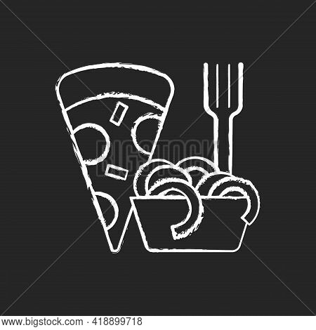Takeaway Italian Food Chalk White Icon On Black Background. Pizza And Pasta. Italian Cuisine Deliver