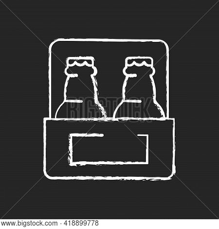 Beer-to-go Chalk White Icon On Black Background. Carbonated Drink For Takeaway. Consuming Alcoholic