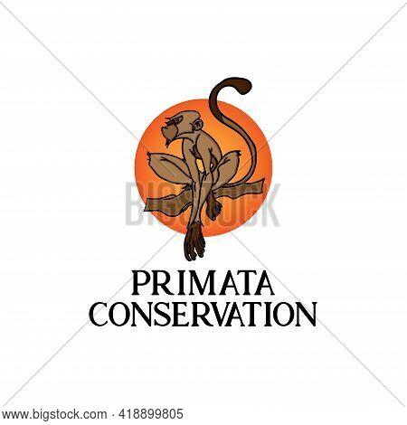 Monkey, Primates Illustration Logo Symbol Conservation Vector.