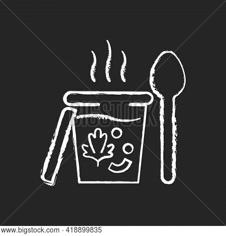 Takeaway Soups Chalk White Icon On Black Background. Liquid Food With Meat And Vegetables. Broth, Cr