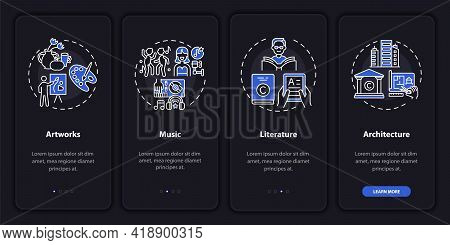 Copyright Things Onboarding Mobile App Page Screen With Concepts. Artwork, Musical Recordings Walkth
