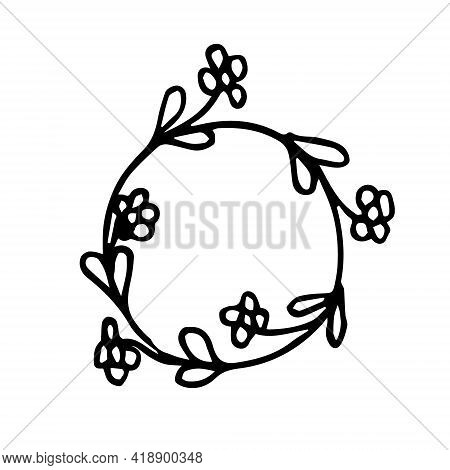 A Wreath Of Wildflowers And Twigs On A White Background Isolated. The Wreath Of Both Wild And Wild F