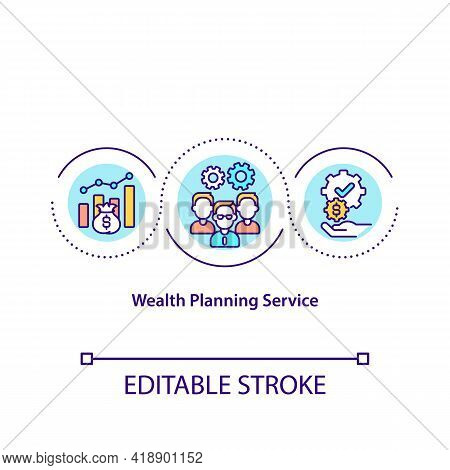 Wealth Planning Service Concept Icon. Investment Advisory Which Helps People To Deal With Their Fina