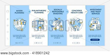 Wealth Counselling Onboarding Vector Template. Responsive Mobile Website With Icons. Web Page Walkth
