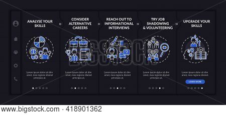 Career Change Steps Onboarding Vector Template Dark Theme. Responsive Mobile Website With Icons. Web