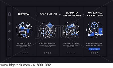 Job Transition Reasons Onboarding Vector Template Dark Theme. Responsive Mobile Website With Icons.