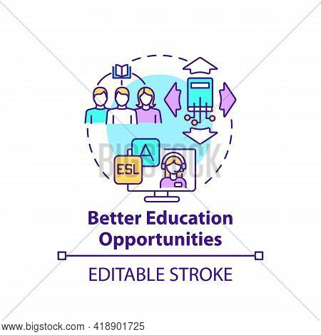 Better Education Opportunities Concept Icon. Online University Course. Internet Training. Digital In