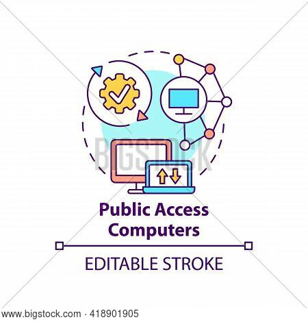 Public Access Computers Concept Icon. Accessible Technology. Open Network. Digital Inclusion Improve