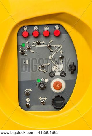 Control Panel Equipment For Hydraulic Crane Or Lifting, Telescopic Platform, Close-up.