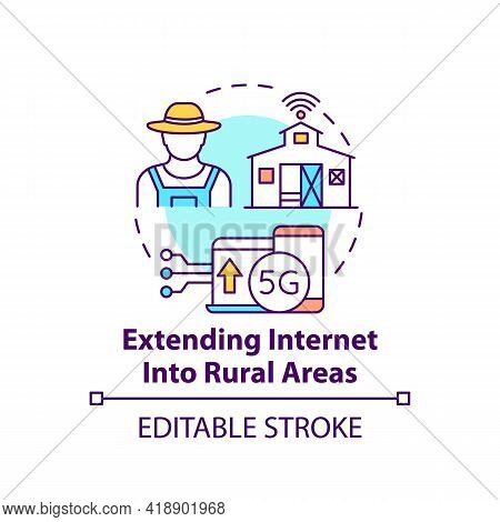 Extending Internet Into Rural Areas Concept Icon. 5g Connection. Smart Farming. Digital Inclusion Id