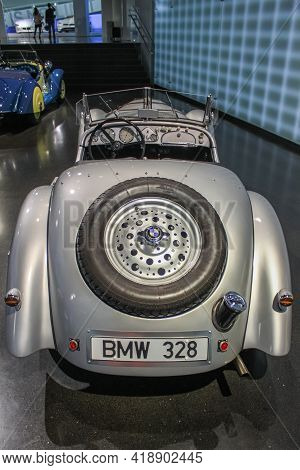 Germany, Munich - April 27, 2011: Bmw 328 Roadster In The Exhibition Hall Of The Bmw Museum. Rear Vi